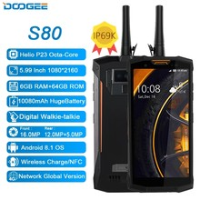 DOOGEE-teléfono inteligente S80, walkie-talkie IP68/IP69K, 10080mAh, 12V, 2a, 5,99 FHD, Helio P23, ocho núcleos, 6GB, 64GB, 16.0MP, NFC