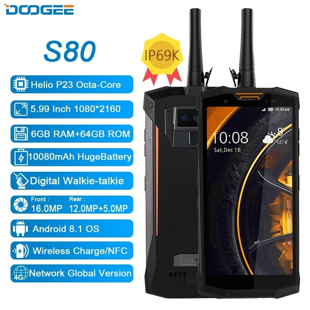 Doogee-teléfono inteligente S80, teléfono móvil inteligente con resistencia al agua IP68/IP69K, Walkie talkie de 10080mAh, 12V2A, 5,99 FHD, Helio P23, Octa Core, 6GB RAM, 64GB rom, cámara de 16.0MP, soporta NFC