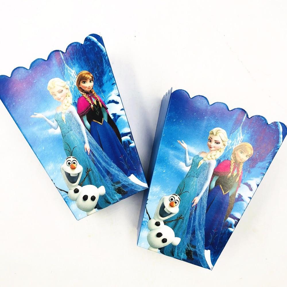 6pcs/set Disney Frozen Elsa And Anna Paper Popcorn Boxes Party Supplie Baby Shower Birthday Party Decoration Favors Supplies Set