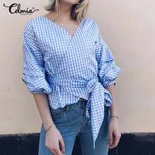 Stylish Women Tops and Blouses 2019 Celmia Summer Vintage Plaid Shirts Sexy V-Neck 3/4 Sleeve Casual Belted Blusas Plus Size 5XL(China)