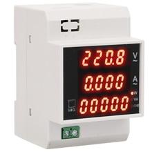 Цифровой счетчик энергии, din-рейка, светодиодный, активный коэффициент мощности, Многофункциональный измеритель переменного тока, 80-300 В/AC200-450V, 0-100 А, измеритель активной мощности
