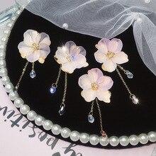 Bohemian fairy series earrings flowers ladies fashion Korean version of elegant personality long tassels drop