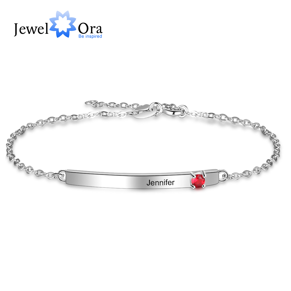 Customized Name Bar Bracelets With 1 Birthstone Engraved Letter Chain Bracelets & Bangles Personalized Gift Jewelry (BA102561)