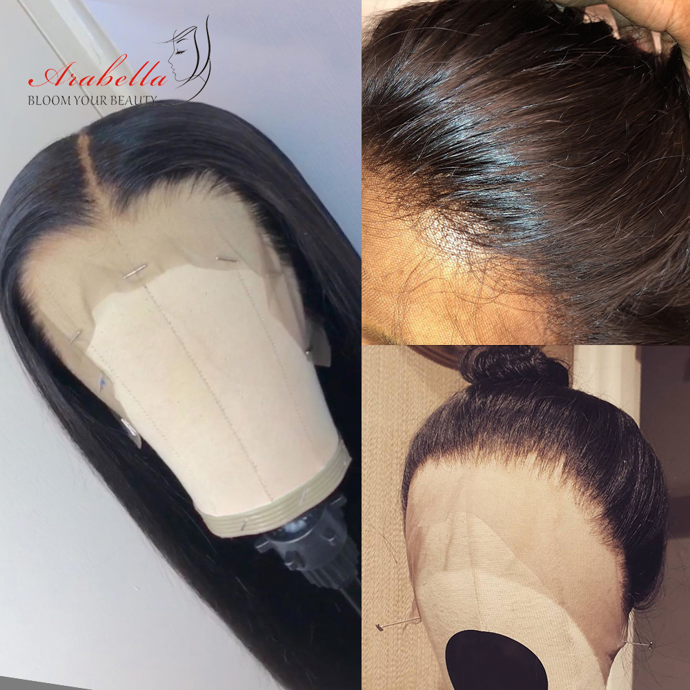Brazilian Straight Lace Front Human Hair Wigs 360 Lace Frontal Wig 180 Density Arabella 100% Remy Human Hair Lace Front Wig-in Blend Wigs from Hair Extensions & Wigs    1