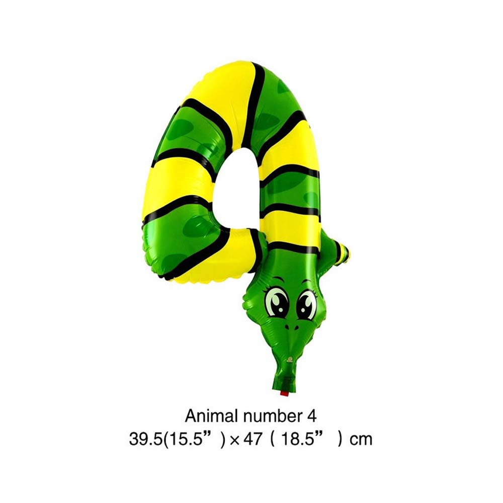 6 дюймов животные мультфильм номер фольги Воздушные шары вечерние шляпы цифры воздушные шарики для день рождения вечерние игрушки для детей - Цвет: WJ106-4