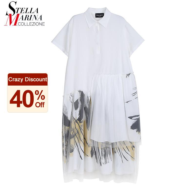 New Plus Size Woman Summer Stylish White Shirt Dress Printing Hem With Mesh Ladies Casual Street Holiday Dress Robe Femme 8221