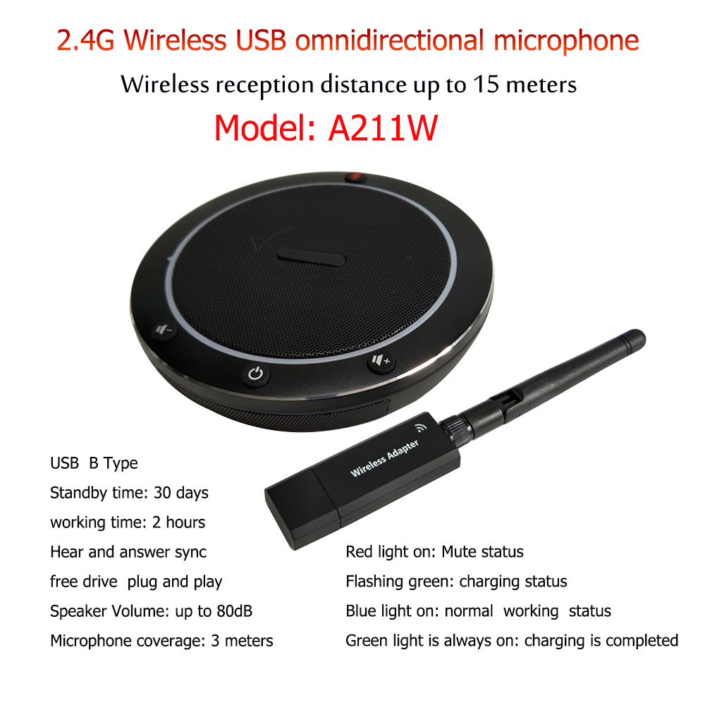 A211W USB Wireless Speech Speaker Support For Zoom Huawei Software And Mobile Phone Smart Speakerphone
