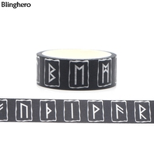 Blinghero Cool Runes 15mmX5m Decorative Washi Tape Black Tape Adhesive Tapes Diy Masking Tape Print Tapes Letter Sticker BH0044 contrast tape letter print velvet tee