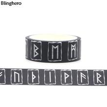 Blinghero fajne runy 15mm X 5m dekoracyjne taśmy Washi czarna taśma klejąca taśmy Diy taśmy maskujące druku taśmy naklejka w kształcie litery BH0044 tanie tanio Taśma Maskująca Bling Hero 15mmx5m Masking Tape washi tape