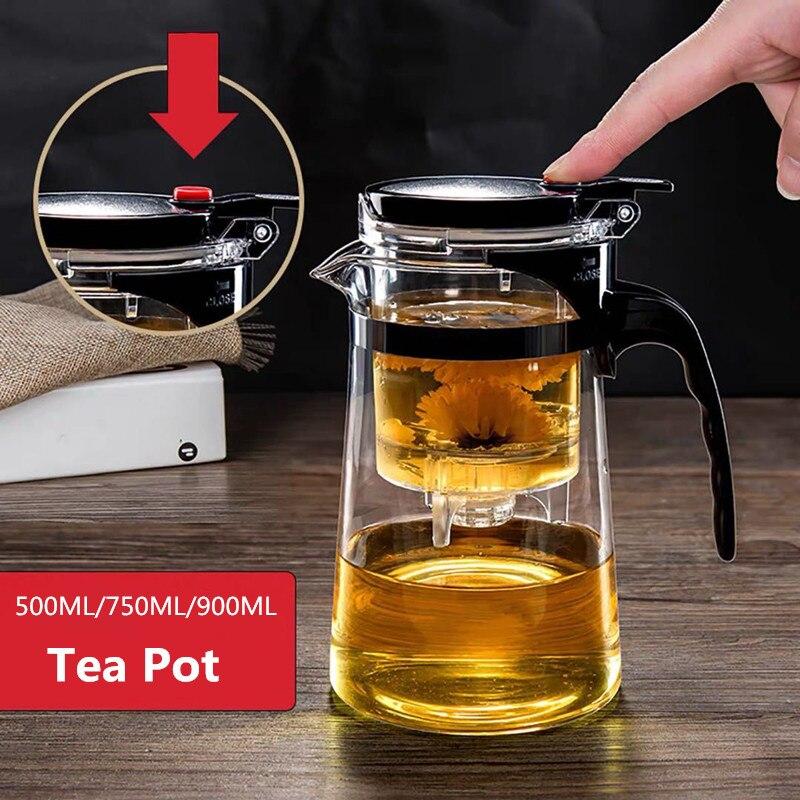 Bules de chá de vidro resistente ao calor bule de chá infusor chinês kung fu conjunto de chá chaleira fabricante de vidro de café conveniente escritório conjuntos de chá