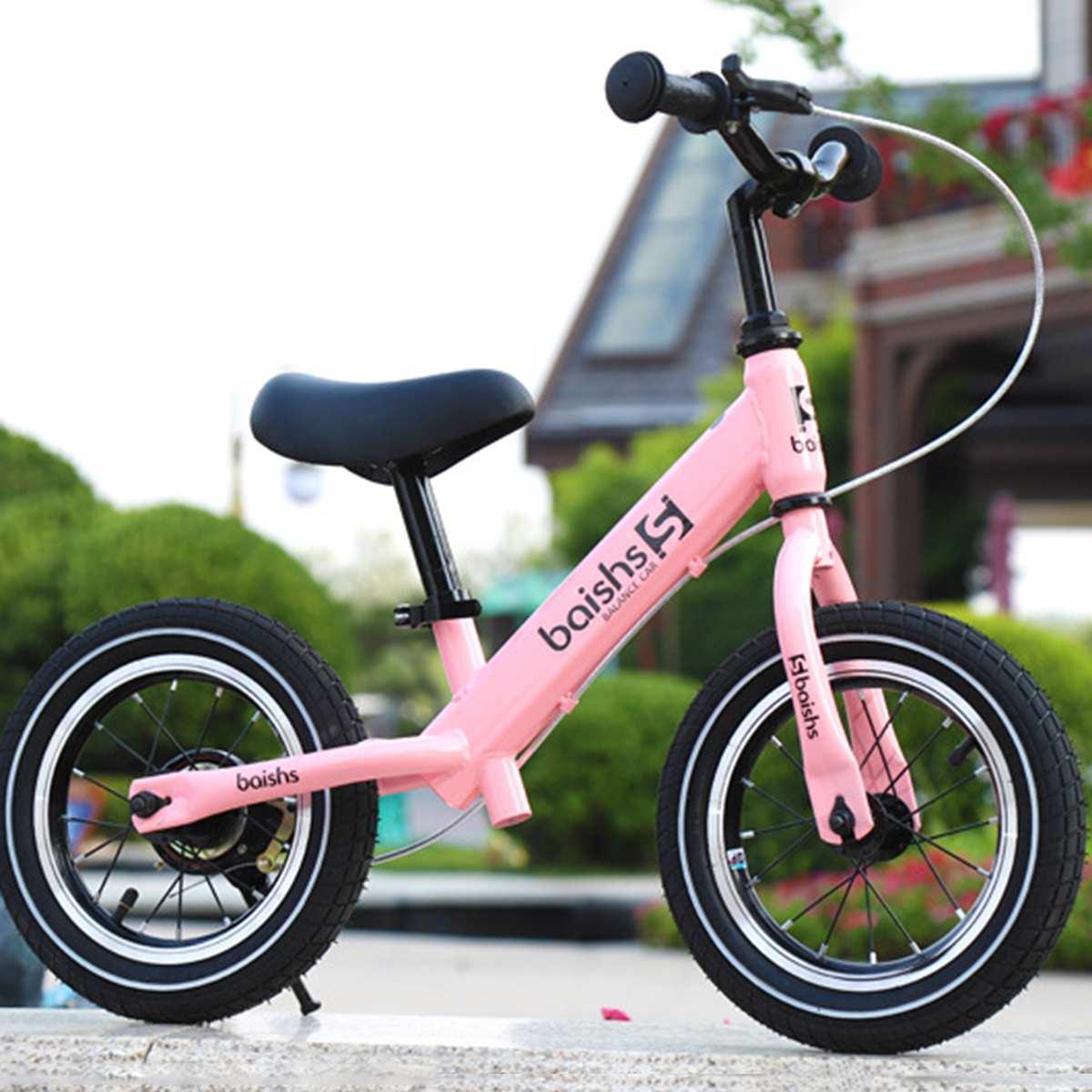 Enfants frein vélo pas de pédale vélo enfant Balance vélo Scooter en plein air jouet entraînement exercice vélo pour 2-8 ans 71x17x36cm rose