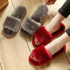 Warm Shoes Slipper Furry Slides Women Winter Flats Wholesale Faux-Fur