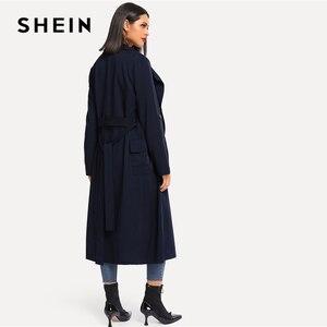 Image 2 - SHEIN 海軍圧延タブスリーブダブルブレストベルト延縄女性の秋ポケットエレガントな Highstreet 上着コート