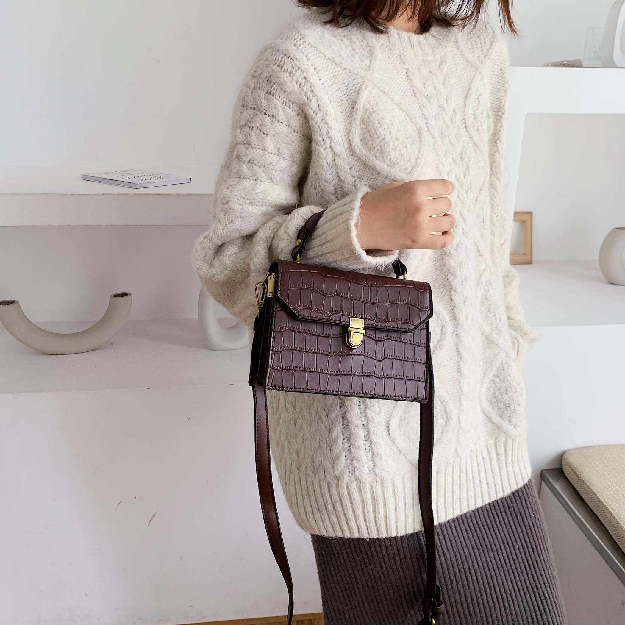 Stone Pattern PU Leather Crossbody Bags For Women 2019 MINI Shoulder Messenger Bag Female Fashion Handbags Totes