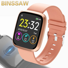 BINSSAW นาฬิกาอัจฉริยะนาฬิกา Heart Rate Fitness Tracker IP67 กันน้ำกีฬาสมาร์ทสายรัดข้อมือผู้ชายสีนาฬิกาปลุกหน้าจอสร้อยข้อมือ