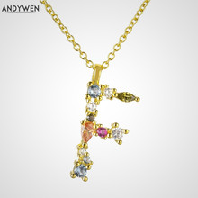 ANDYWEN 925 Sterling Silver Gold Leter F Pendant Initial H Alphabet Necklace Long Opals Steampunk Nightmare Before Christmas
