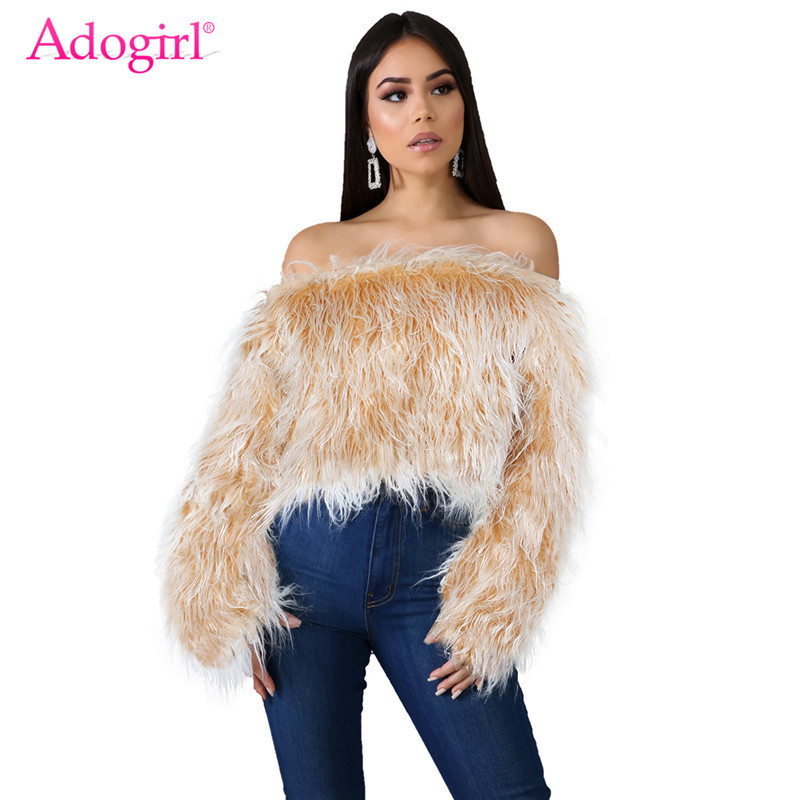 Adogirl Women Sexy Off Shoulder Faux Fur Crop Top Changing Color Slash Neck Long Sleeve Sweater Fashion Tops Warm Winter Jumper