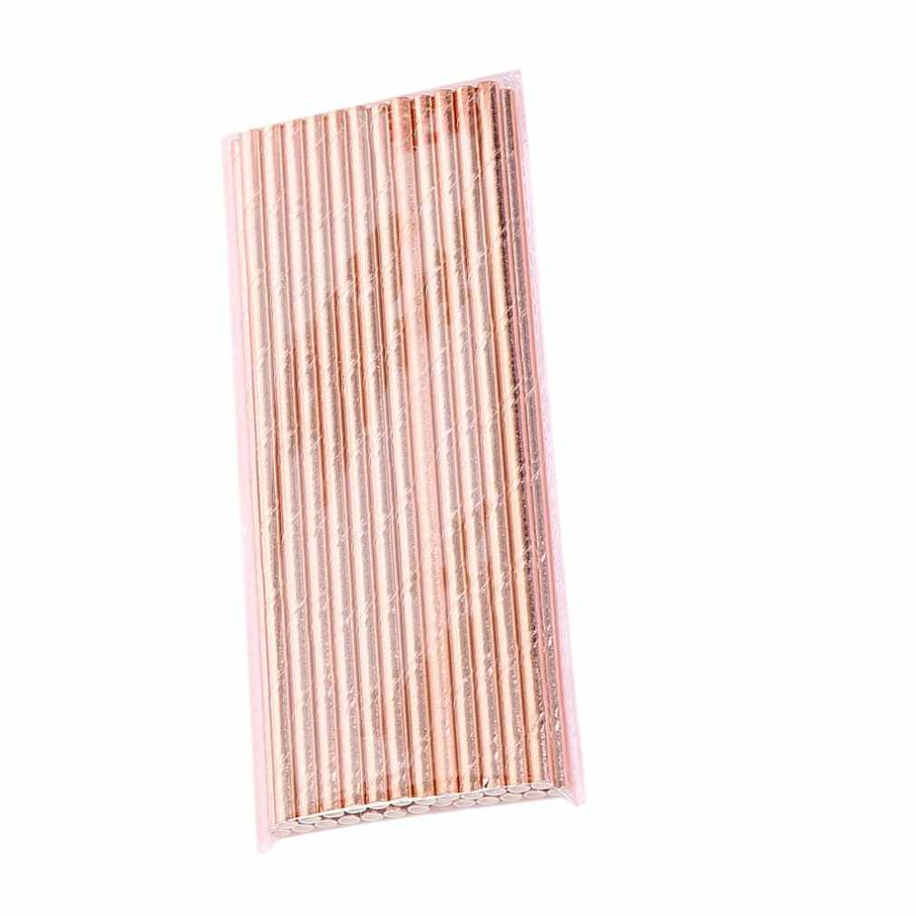 25pcs Rose Gold Paper Pipette Foil Stripe Paper Straws Gold Foil Stripe Paper Straws Silver Foiled stripe chevron