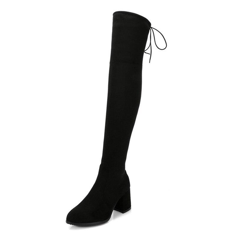 Женские ботфорты на высоком каблуке, демисезонные сапоги до бедра, маленькая модель 32, 33 -40, 41, 42, 43, 44, 45, 46, 47, 48