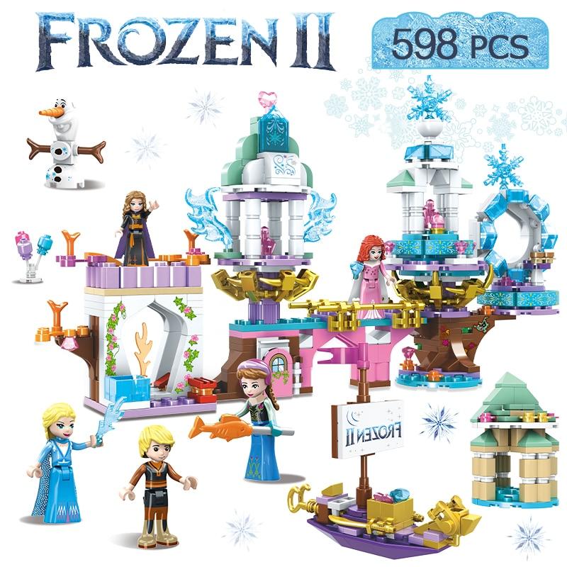 598pcs Snow Queen Series Elsa`s Anna Magical Ice Castle Princess Compatible  Girls Friends Building Blocks Bricks Toys