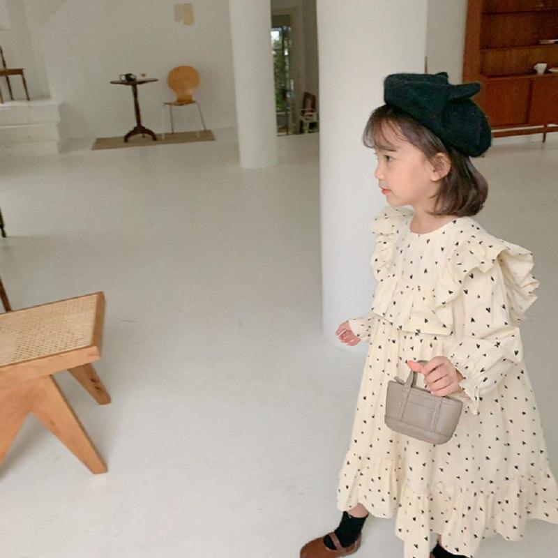 2021 Atumn New Arrival Girls Long Sleeve Heart Dress Kids Koreand Design Dresses  Kids Dresses for Girls 3