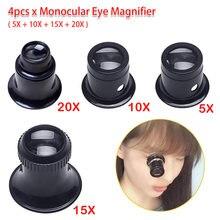 Juwelier Horloge Vergrootglas Tool 5X 10X 15X 20X 4 Stuks Draagbare Monoculaire Vergrootglas Loupe Lens Voor Eye Vergrootglas Len reparatie Kit