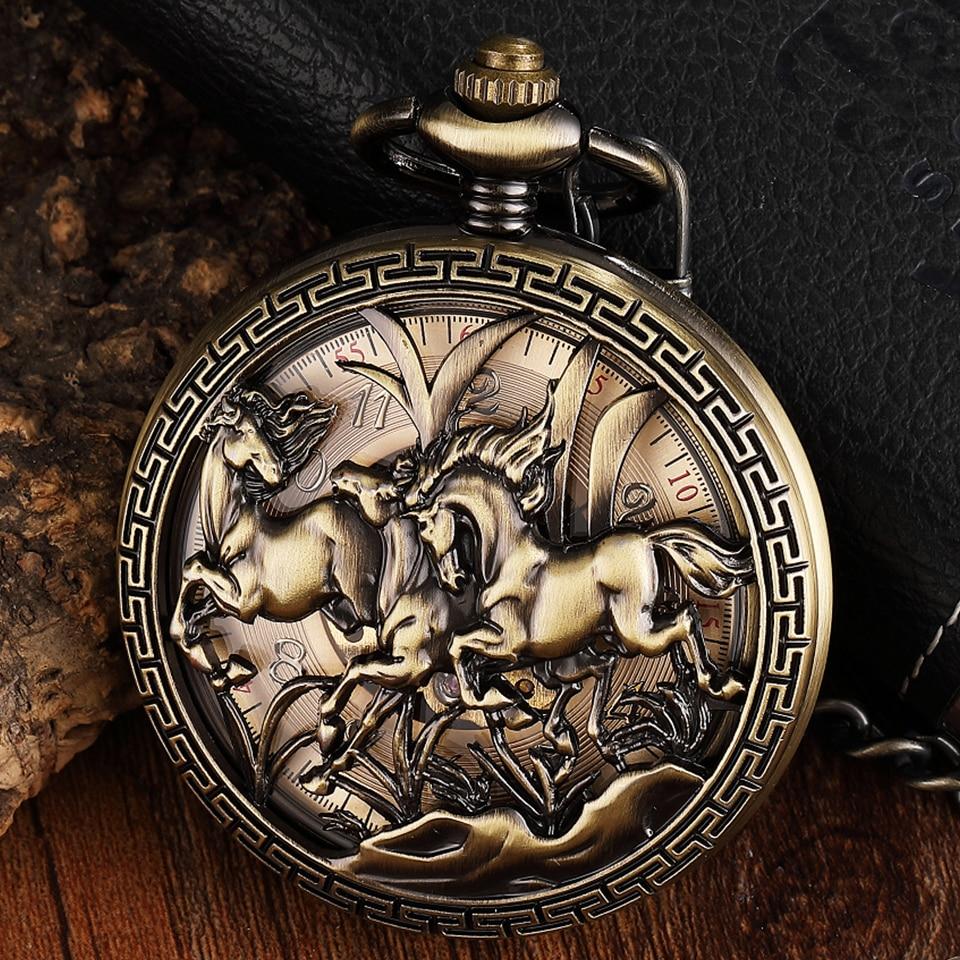 Retro Hollow Horse Design Pocket Watch Mens Unique FOB Chain Roman Dial Steampunk Bronze Skeleton Mechanical Hand Wind Men Watch