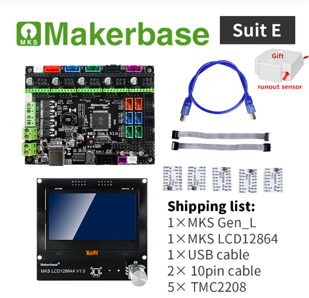3d Printer Controller Card MKS GEN L V2.0 + Ramps LCD12864 Display Lcd 12864 + RepRap Stepper Drivers Cheap DIY 3D Printer Plate