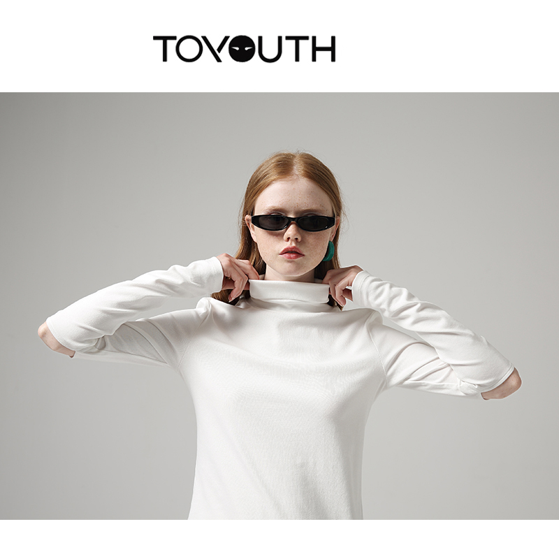 Toyouth Women Solid Turtleneck Long Sleeve T-Shirts Casual Hollow Out Sleeve Autumn Bottoming Tee Shirt Basic Tops