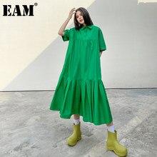 [EAM] kobiety zielona plisowana Big Size długa sukienka koszulowa nowa z klapami krótkim rękawem luźny krój mody fala wiosna lato 2021 1DD5815