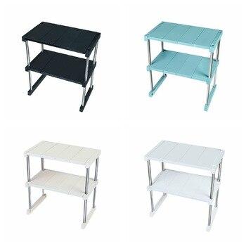 Estante de escritorio doble apilable estante multifuncional de almacenamiento nivel extraíble Mostrador de gabinete apilable para cocina Baño