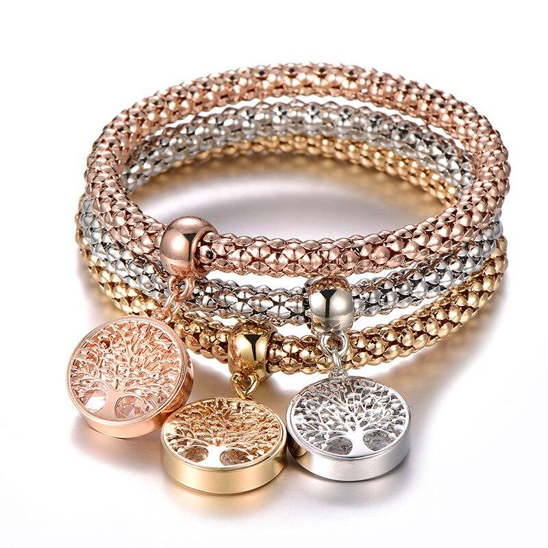 3pcs/set Crystal Zircon Tree Of Life Corn Chain Bracelet Elastic Bracelet Fine Bracelet Ladies Charm Fashion Jewelry Women Gift