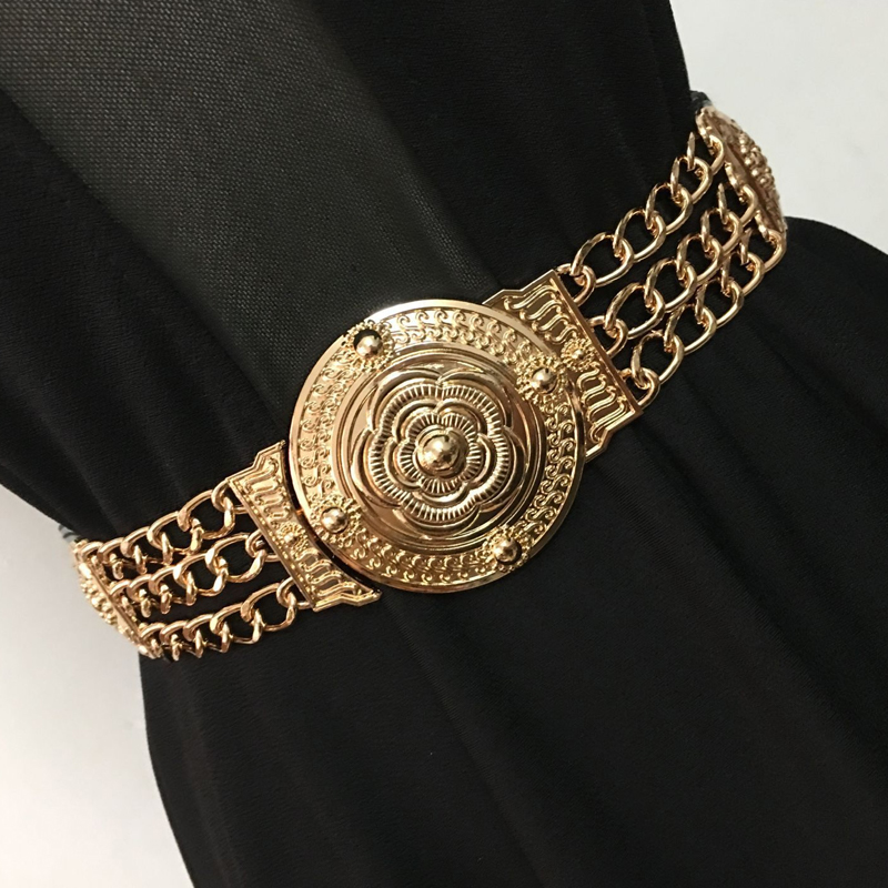 Gold Chain Belt Elastic Stretch Belts For Women Big Flower Metal Riem Ketting Golden Decorative Luxury Designer High Quality