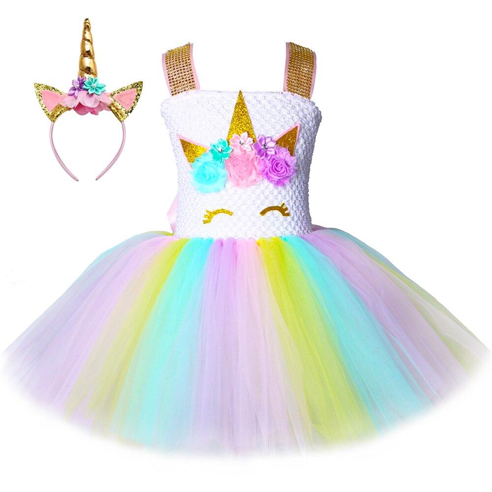 Children Girls Unicorn Tutu Dress Rainbow Princess Kids Birthday Party Dress Girls Christmas Halloween Pony Cosplay Costume 1 14
