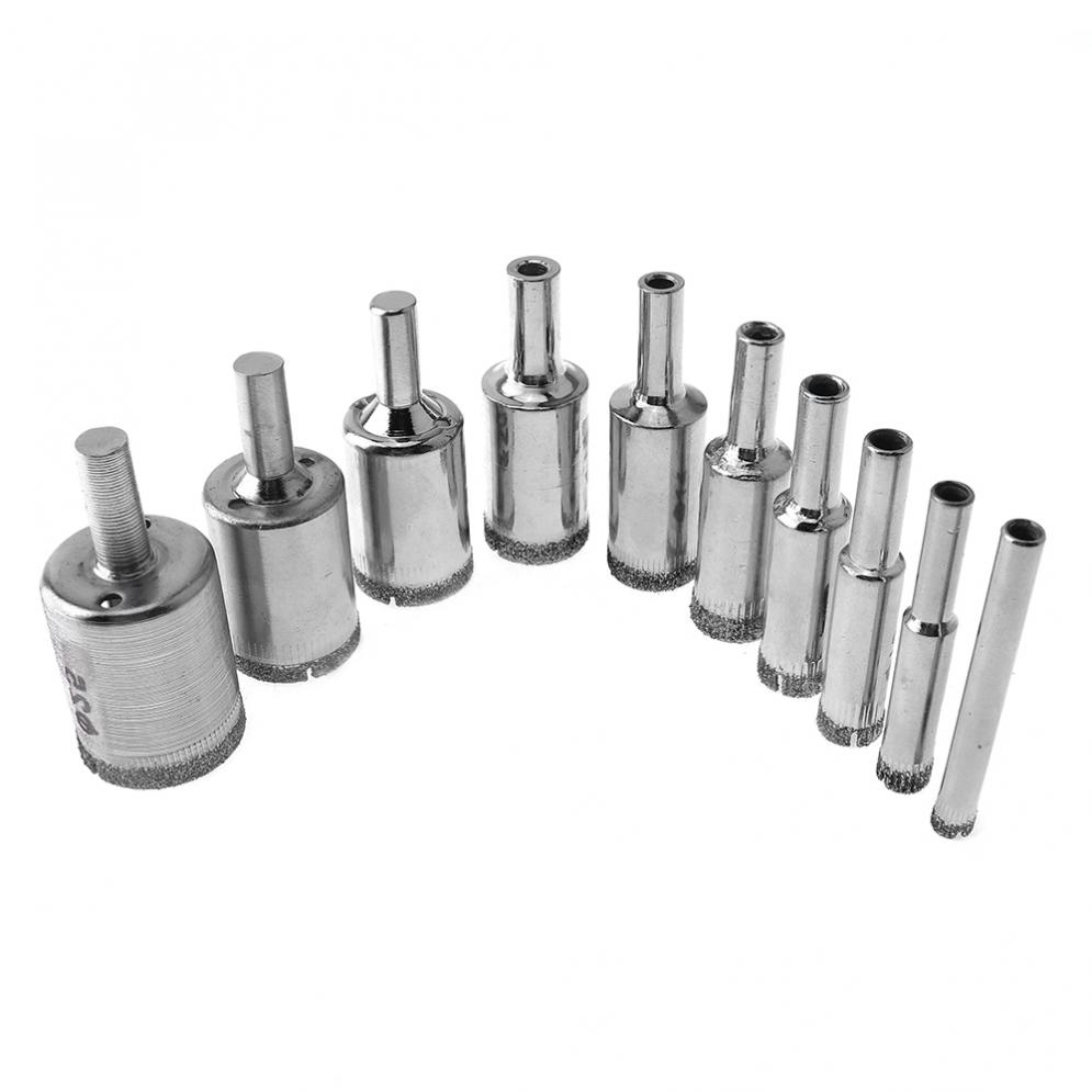 10pcs/lot Hole Saws Diamond Coated Core Hole Saw Drill Bit Set Tools Glass Drill Hole Opener For Tiles Glass Ceramic