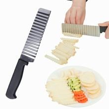 Cortadora de patatas de acero inoxidable, masa, fruta, arruga, rebanadora ondulada, cuchillo, cortador de patatas, máquina de freír francés
