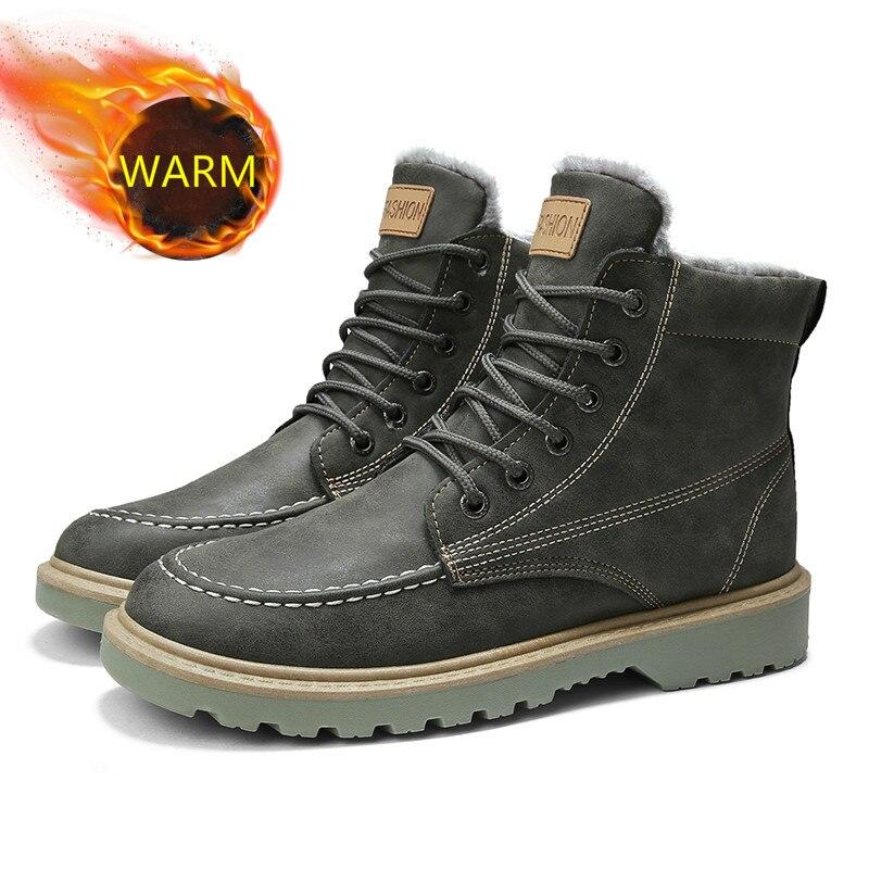 AODLEE Men Boots Plush Warm Fashion Mens Winter Snow Ankle Chelsea Boots High Top Casual Shoes Men Leather Shoes Botas Hombre