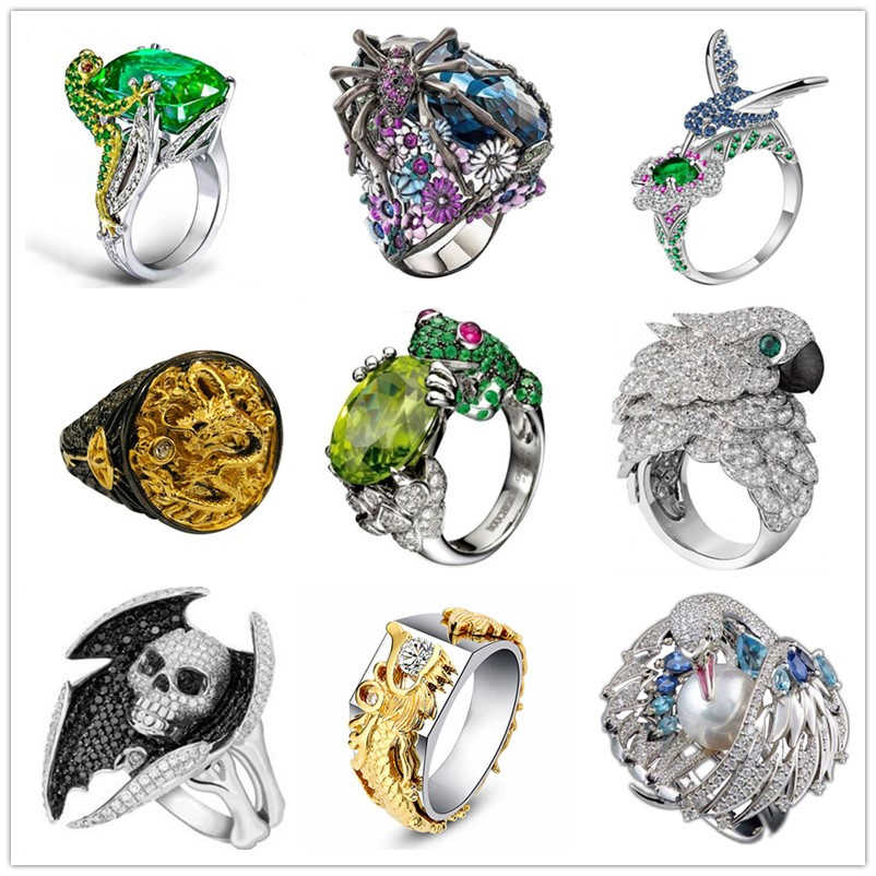 Free Fan Spider Dragon Skull Hip Hop Gothic Rings Female Punk Rock Crystal Animal Men Ring Jewelry Accessories Party Gift 2019