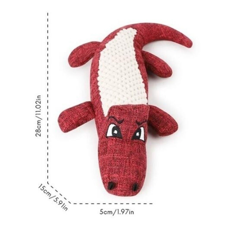 Pet Dog Toy Linen Plush Crocodile Animal Toy Dog Chew Squeaky Noise Toy Cleaning Teeth Supplies Toy Tough Interactive Doll 1PC 11