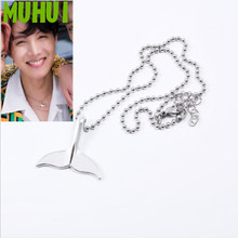 Free Shipping Kpop Star J HOPE 2019 Summer Stainless steel Dolphin Tail Choker Necklace For Women Kolye Me Jewelry Collares B106