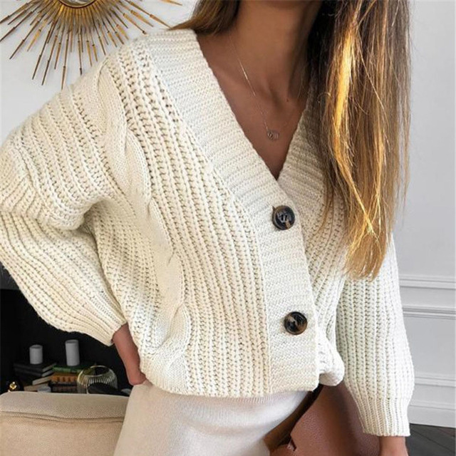 US $13.98 44% OFF|Women Short Cardigan Knitted Sweater Autumn Winter Long Sleeve V neck Jumper Cardigans Casual Streetwear Fashion Pull Femme Coat| |