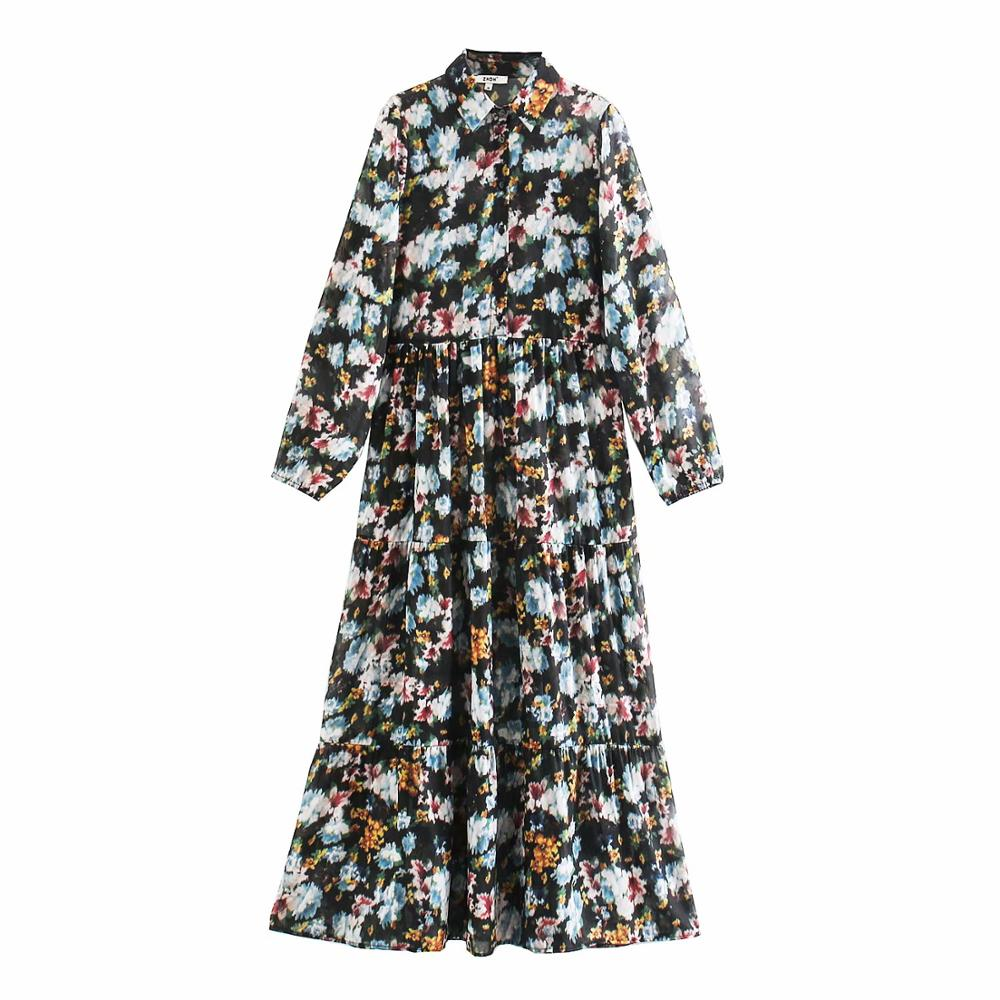 New Women vintage ink painting floral printing casual shirtdress ladies long sleeve business vestidos chic retro Dresses DS3282