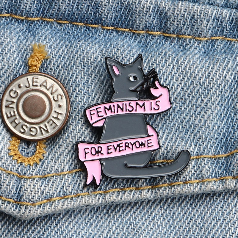 Feminism Is for Everyone Enamel Pin Cartoon Banner <font><b>Cat</b></font> Brooches Lapel Pin <font><b>Shirt</b></font> Bag Badge Feminist Jewelry Gift for Friends image
