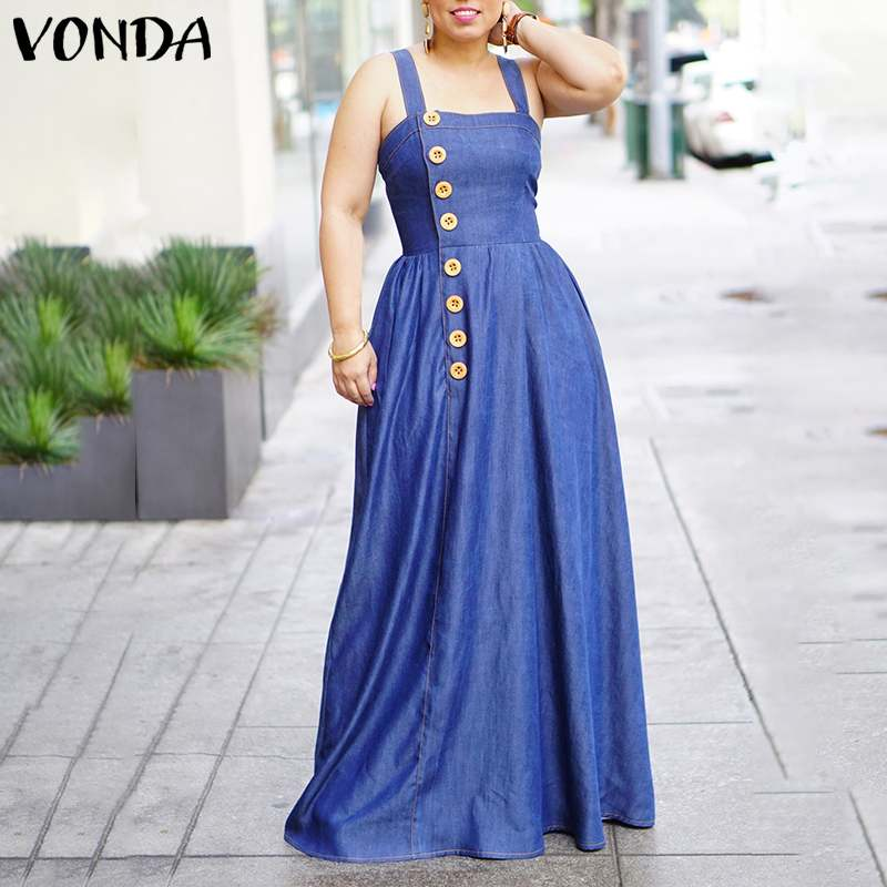 VONDA 2020 Women Dress Vintage Cotton Denim Long Maxi Strap Sleeveless Dresses Spring Autumn Long Sundress Plus Size 5XL Robe
