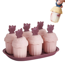 цена на Ice Cream Mold with Cover Animals Cup Shape Ice Cube Tray Ice Cream Popsicle Maker Candy Bar Decoration Tool