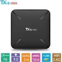 H6 TX6mini Android 9.0 Caixa de TV Allwinner Quad Core Smart TV Box 2GB 16GB 2.4GHz WiFi Mídia jogador 4K H.265 TX6 Mini Set-top Box