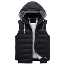 Sleeveless Mens Hooded Thick Cotton Vest Coats Hat Detachable Zipper Fly Loose Fashion Casual Male Waistcoat Plus Size 4XL-8XL(China)