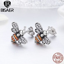 BISAER HOT SALE 925 Sterling Silver AAA CZ Busy Bees Insects  Stud Earrings for Women Luxury Fine Jewelry Brincos HSE344