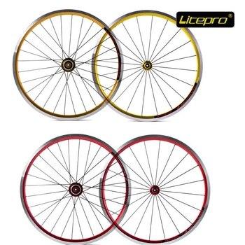 Folding Bike Wheelset Litepro K-king Fun 20Inch 406 20/24Hole Ultralight Refiting Wheel Group Front Wheel 74mm Rear 100mm