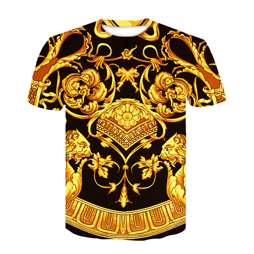 Baroque Shirt New Summer T-shirt 3D Digital Print T Shirt Men/women Vintage Luxury Royal Floral Print Golden Flower Brand Tshirt
